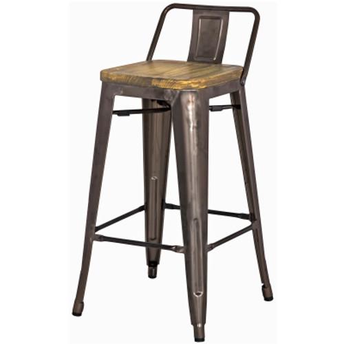 Metropolis Low Back Counter Stool Wood Seat, Gunmetal