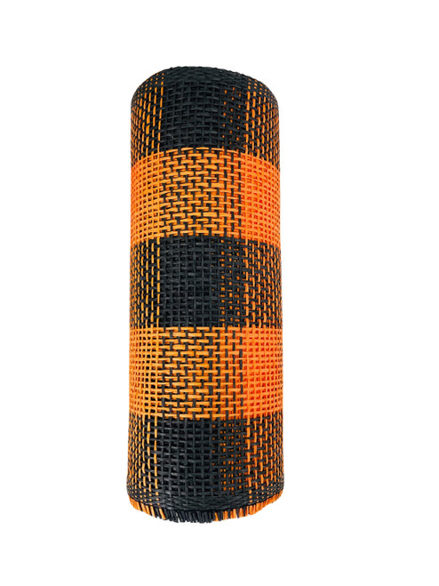 "Ribbon Woven Paper Burlap Mesh Black Orange Plaid  10"" x 10yd"