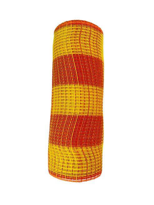 """Ribbon Poly Burlap Mesh Yellow Orange Check  10"""" x 10yd"""
