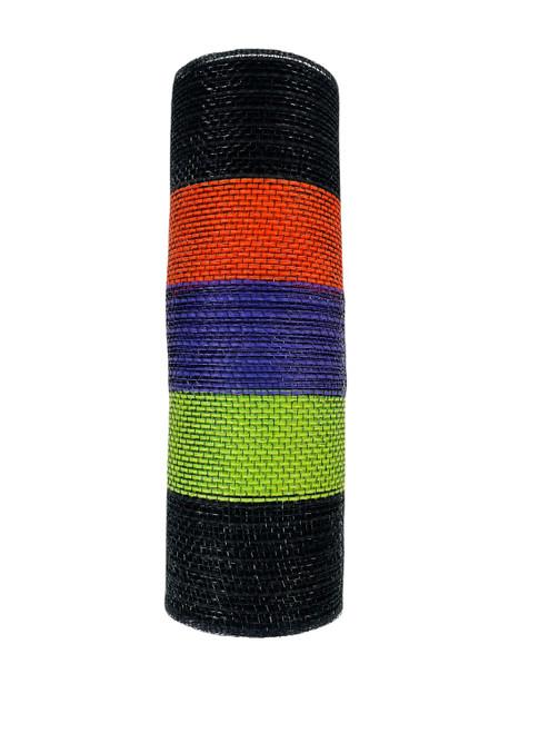 """Ribbon Poly Burlap Mesh Black Orange Purple Lime Stripe 10"""" x 10yd"""