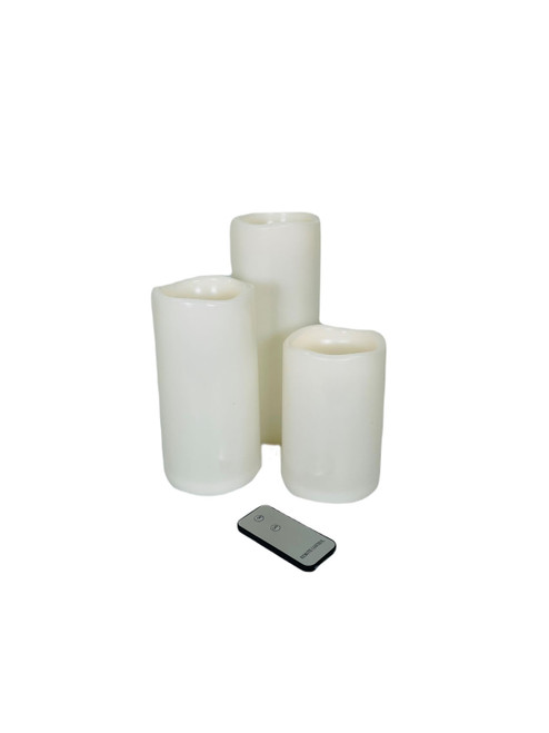 Flameless LED Candles with Remote 3 PC Set Ivory