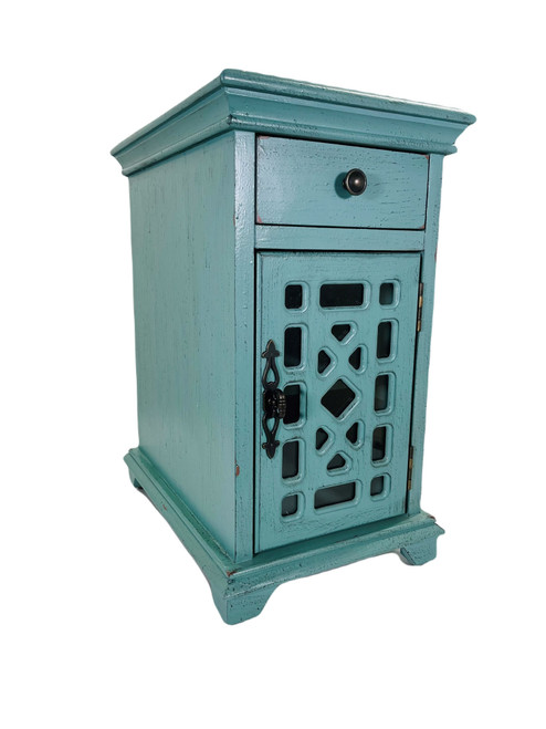 Chairside  Storage Table Teal Blue