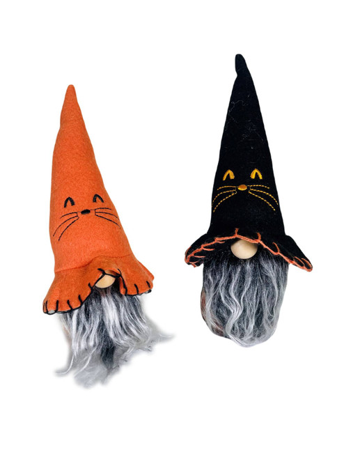 """Gnome Witch Cat Hat Set of Two 8"""""""