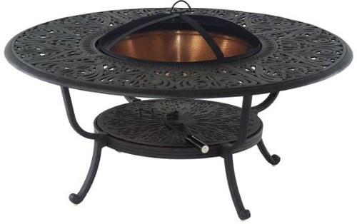 "Hanamint Tuscany Outdoor 48"" Round Fire Pit Table with Copper Bowl & Accessories"