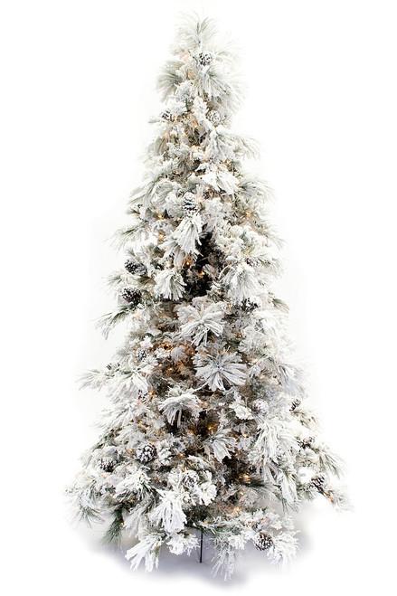 9' Flocked Pine Long Needle Prelit Artificial Christmas Tree