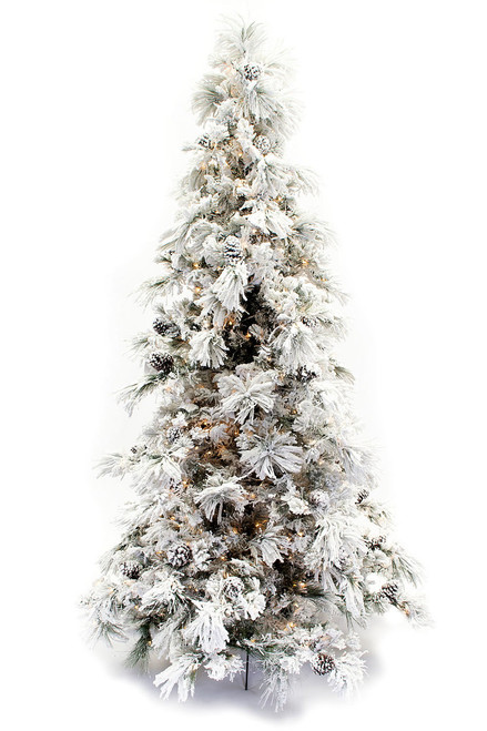 9' Flocked Pine Long Needle Prelit Artificial Christmas Tree