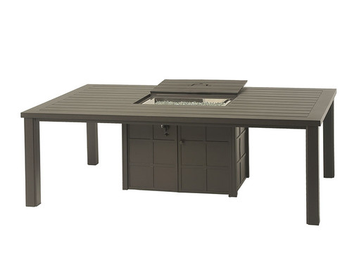 """Hanamint Sherwood Outdoor 47"""" x 84"""" Rectangular Enclosed Gas Fire Pit Dining Table"""