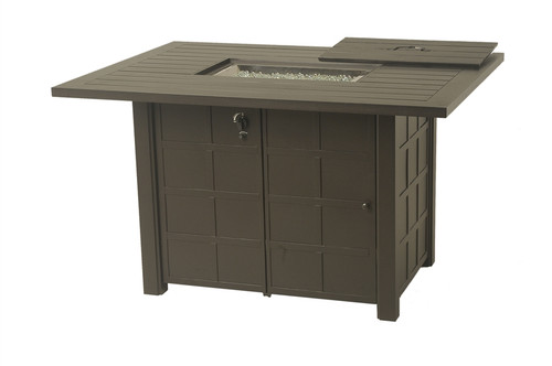 "Hanamint Sherwood Outdoor 47"" x 64"" Rectangular Enclosed Counter Height Gas Fire Pit Table"