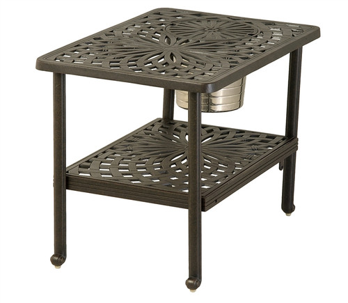 "Hanamint Mayfair Outdoor 22"" x 32"" Rectangular Ice Bucket Table"