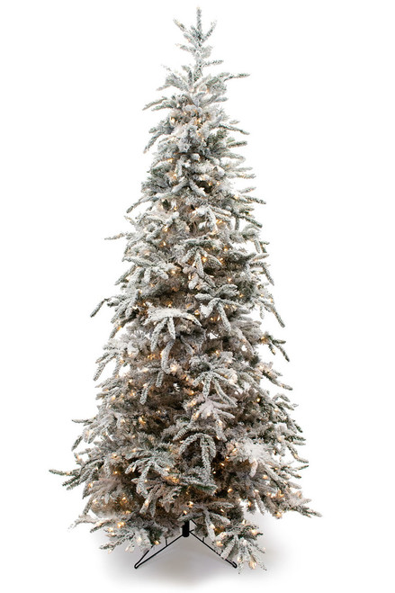 9' Flocked Balsam Prelit Artificial Christmas Tree