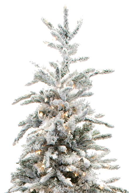 Balsam Christmas Trees.9 Flocked Balsam Prelit Artificial Christmas Tree