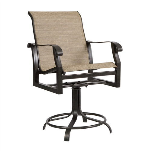 Woodard Cortland Outdoor Sling Swivel Counter Stool