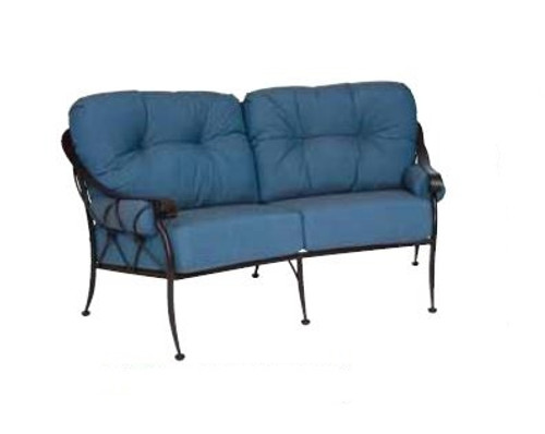 Woodard Derby Outdoor Crescent Loveseat w/Cushions & Bolsters