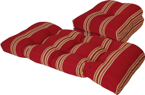 Outdoor Cabana Stripe Chili Pepper 3 Piece Cushion Set