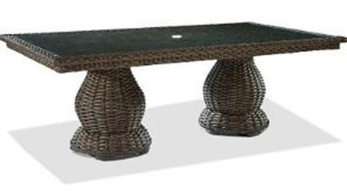 "Lane Venture South Hampton Outdoor 46"" x 96"" Double Pedestal Dining Table w/Glass"