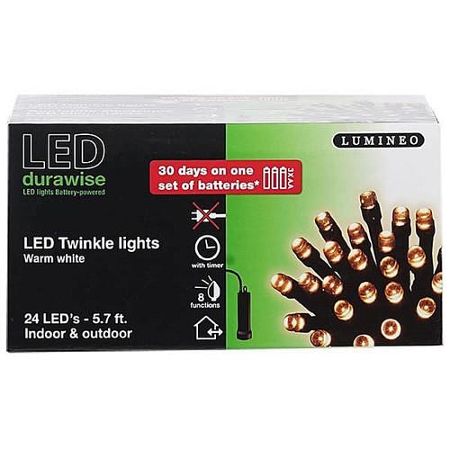 LED Twinkle Lights - 5.7' w/Black Wire 24 Lights