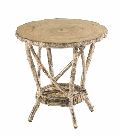 Woodard River Run Outdoor Round End Table w/Faux Birch Top