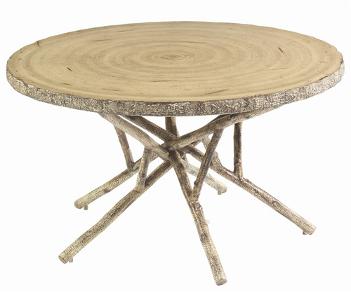 Woodard River Run Outdoor Round Birch Heartwood Dining Table