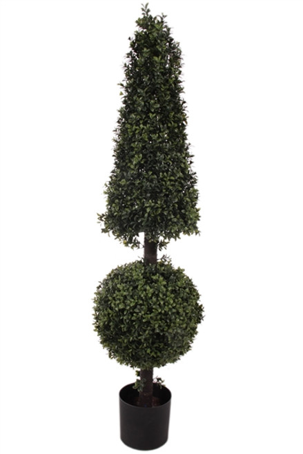 """52"""" Artificial Deluxe Boxwood Ball Cone Topiary"""