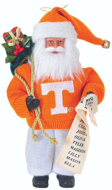"9"" University of Tennessee Santa Ornament"