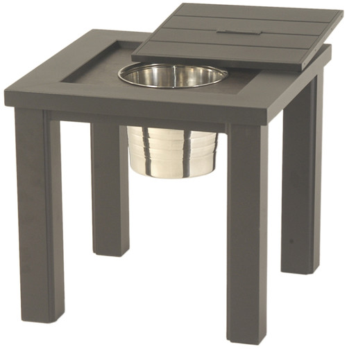 """Hanamint Sherwood Outdoor 24"""" Square Ice Bucket Side Table"""
