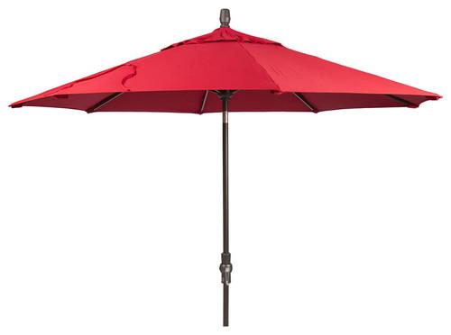 9' Collar Tilt Starlight Umbrella in Sunbrella Canvas Jockey Red - Single Wind Vent - Bronze Finish