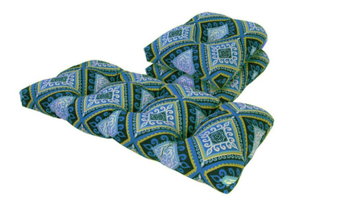 Outdoor Spanish Tile Blue and Green 3 Piece Cushion Set