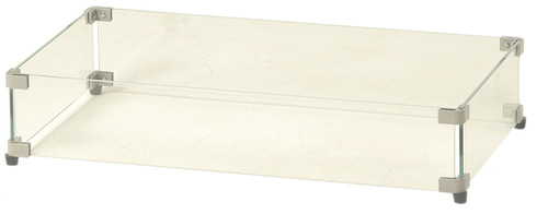 Rectangular Glass Guard for Gas Fire Pit with Rectangular Crystal Fire Burner