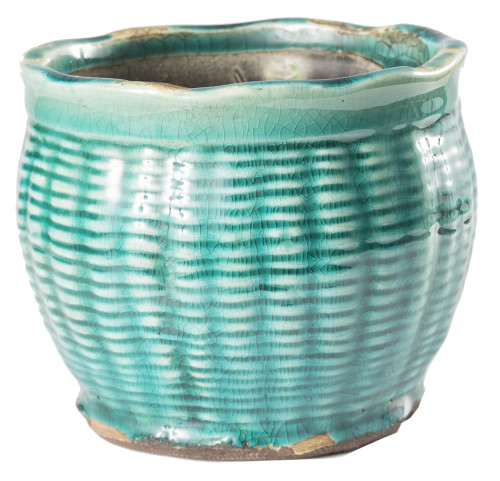French Farmhouse Large Round Pot Candle in Turquoise - Roasted Espresso