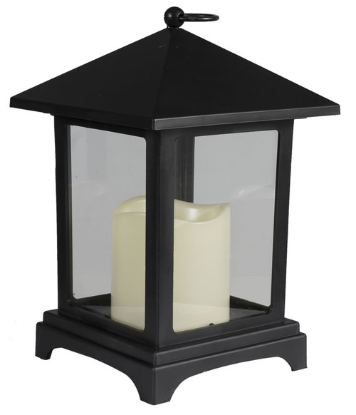 Square Black Plastic Lantern w/Flameless LED Candle 2