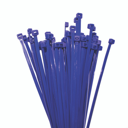 Nylon Cable Ties 150mm Long x 2.5mm Wide, Blue, 100 Piece Pack