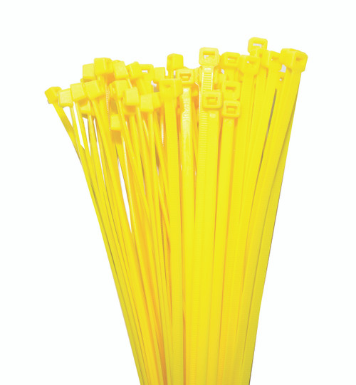 Nylon Cable Ties 200mm Long x 4.7mm Wide, Yellow, 100 Piece Pack