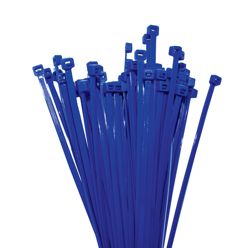 Nylon Cable Ties 200mm Long x 4.7mm Wide, Blue, 100 Piece Pack