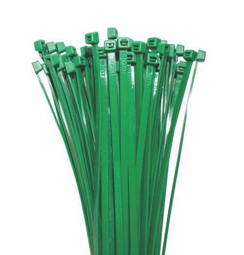 Nylon Cable Ties 200mm Long x 4.7mm Wide, Green, 100 Piece Pack