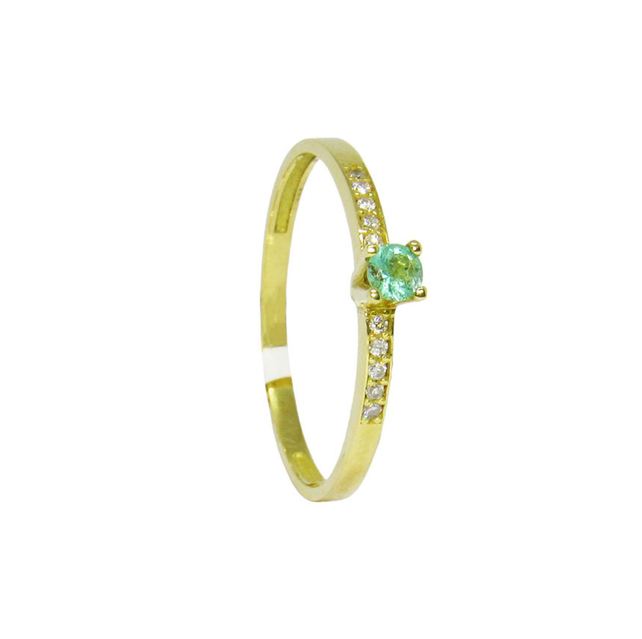 a57efbbb0724a Anel de ouro 18k com brilhante e esmeralda 3,18mm (CJAN-00000680)