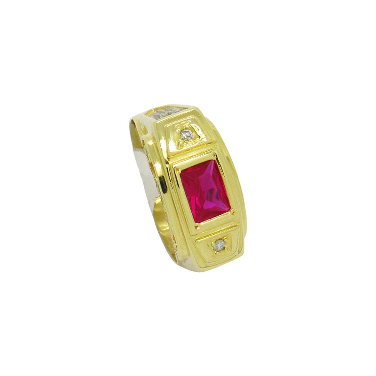 5f8f9a59d0e99 Anel de formatura de ouro 18k com brilhante e rubi 10,24mm (CJAN ...