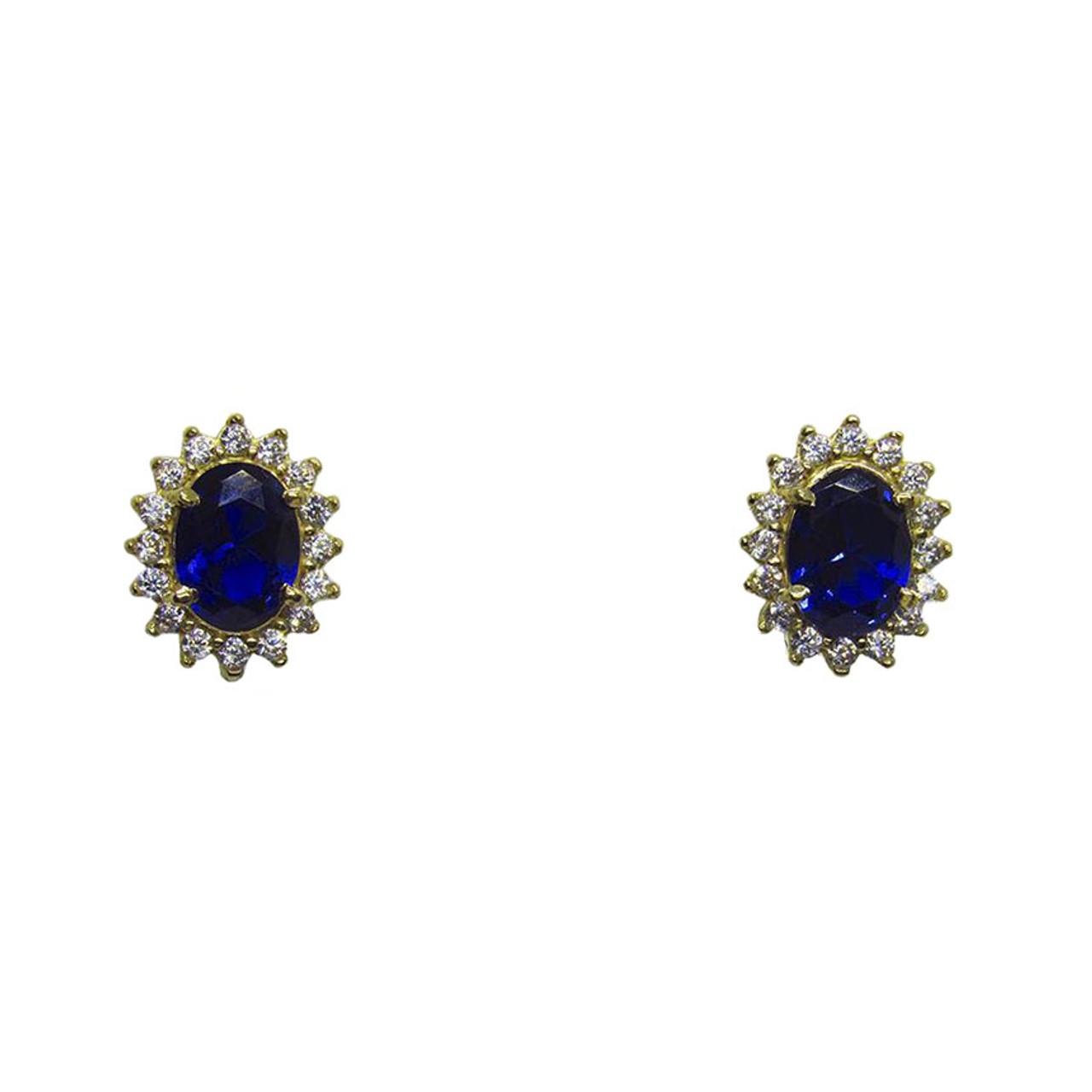 92724912acf Brinco de ouro 18k com Safira Azul e Zircônia Branca 11