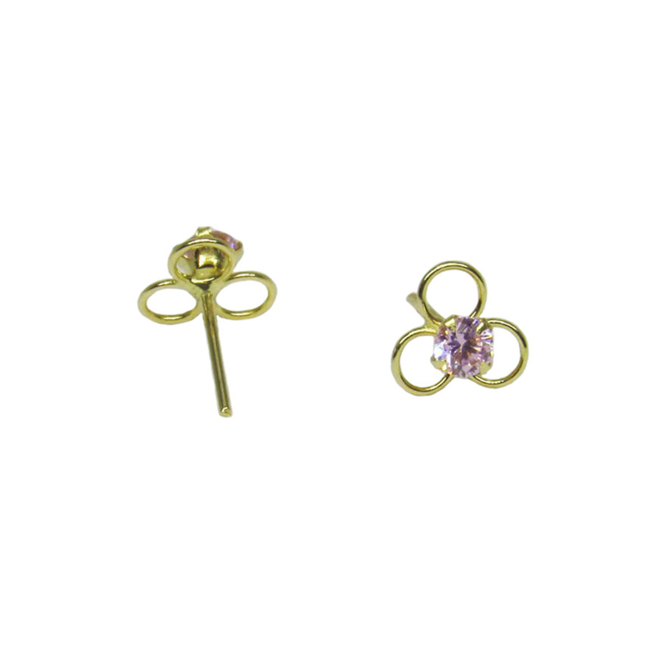 Brinco de ouro 18k Infantil Flor Zircônia Rosa 5,60mm (CJBR-00000331) fe5bfffa95