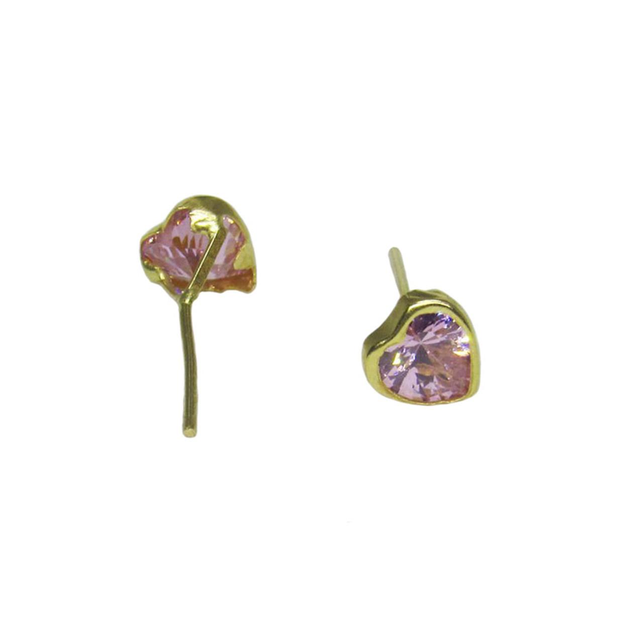 Brinco de ouro 18k Infantil Coração Zircônia Rosa 8,0mm (CJBR-00000339) 2b0654df48