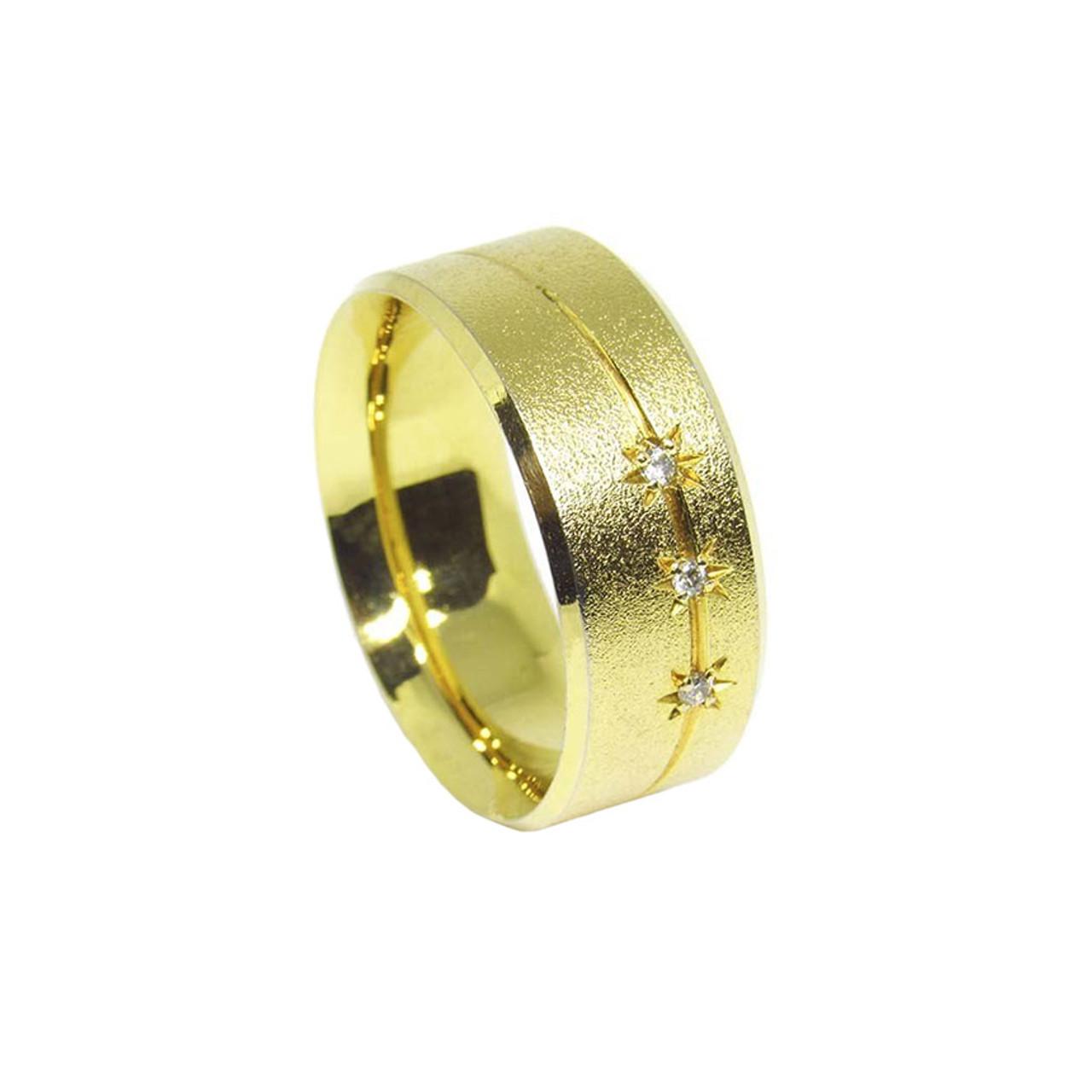 31214aa7a0f96 Aliança de ouro 18k Anatômica Maciça com brilhantes 8