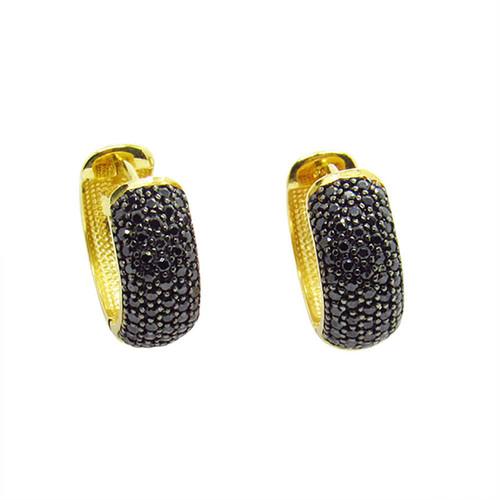 Brinco de ouro 18k argola com ródio negro localizado e zircônia negra 13,34mm