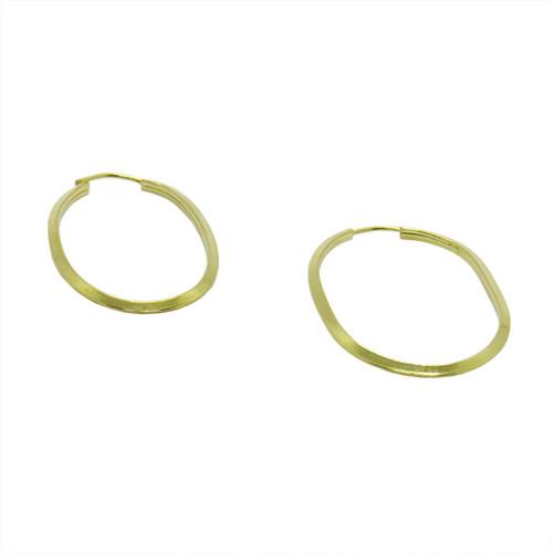 Brinco de argola de ouro 18k oval 21,26mm