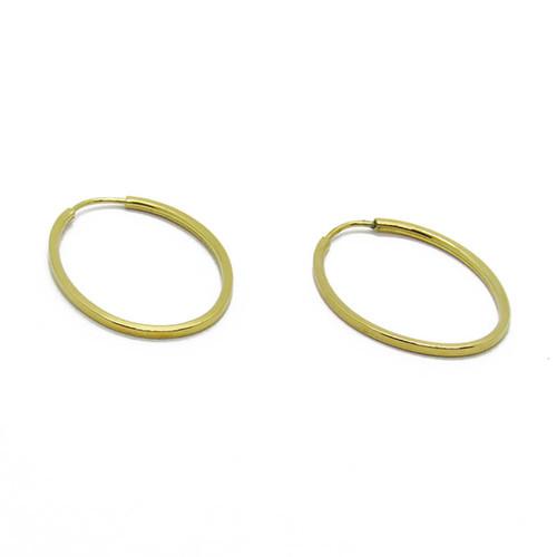 Brinco de argola de ouro 18k oval 20,60mm
