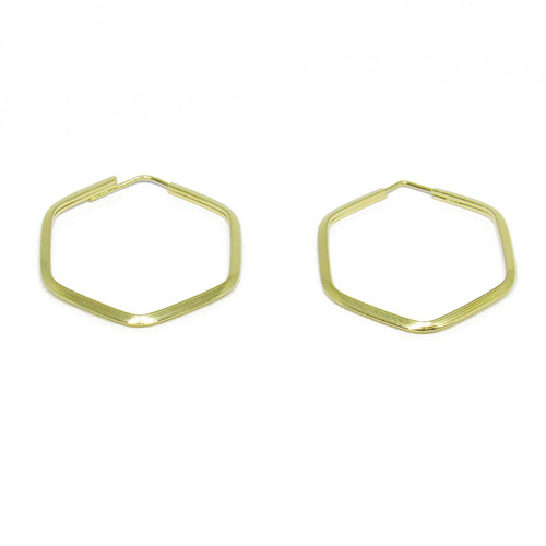 Brinco de argola de ouro 18k hexagonal 21,10mm