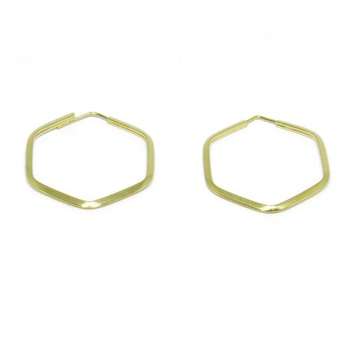 Brinco de argola de ouro 18k hexagonal 21,10mm