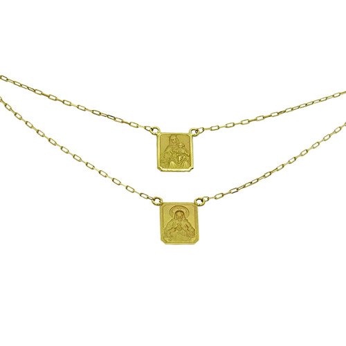 Escapulário de ouro 18k Nossa Senhora do Carmo e Sagrado Coração de Jesus 13.51mm 60cm