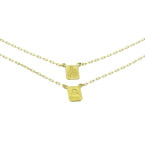 Escapulário de ouro 18k Nossa Senhora do Carmo e Sagrado Coração de Jesus 10.77mm 60cm
