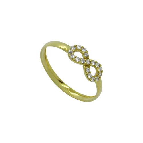 Anel de ouro 18k infinito com safira branca 5,20mm