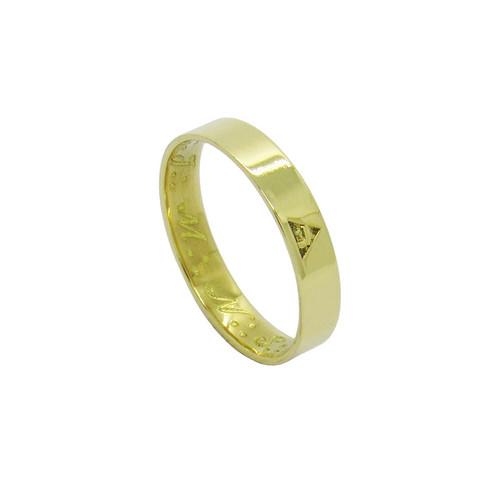 Anel de ouro 18k maçonaria grau 14 fino sem borda 4mm 3,20g