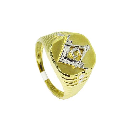 Anel de ouro 18k maçonaria esquadro e compasso